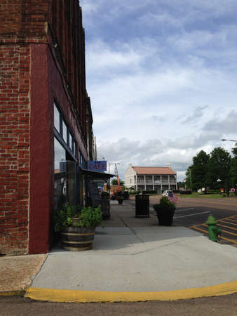 main street: Sidewalk along Main Street in Water Valley Mississippi