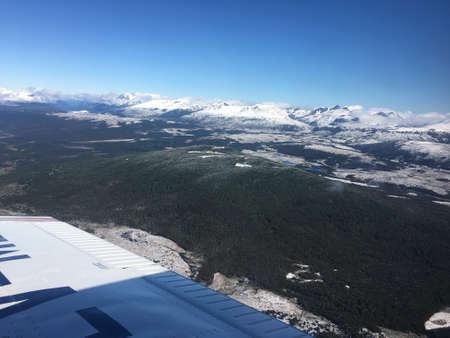 fuego: Flying over Tierra del Fuego in Argentina