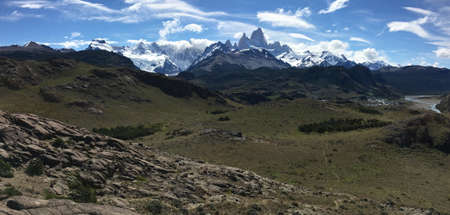 fitz roy: Fitz Roy viewpoint in Argentina Stock Photo