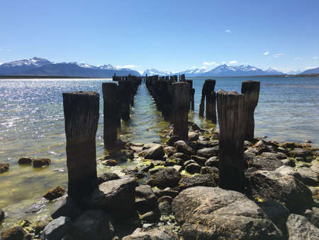 puerto natales: Old pier in Puerto Natales, Chile Stock Photo