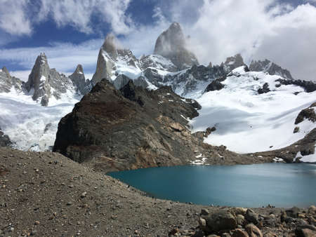 laguna: Laguna de los Tres and Fitz Roy in Argentina Stock Photo