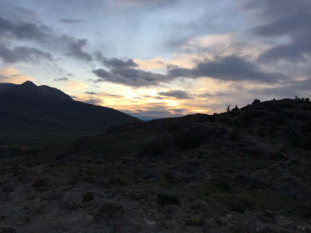 december sunrise: Sunrise in El Chalten, Argentina Stock Photo