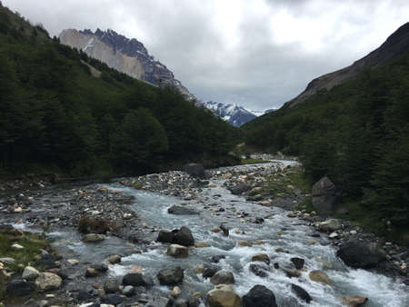Mountain stream in Torres del Paine National Park, Chile Stock Photo