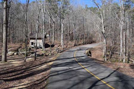 Park road and Pioneer Cabin in Tishomingo State Park Mississippi