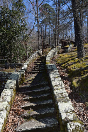 Stone staircase in Wall Doxey State Park, Mississippi Stock Photo