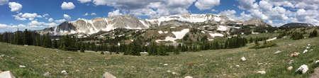 Panorama of the Snowy Range, Wyoming Stock Photo