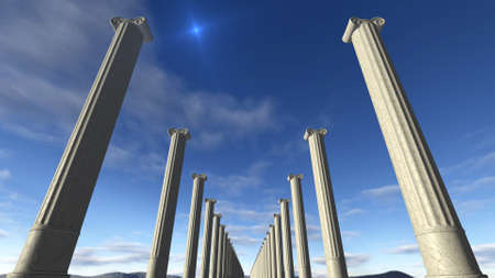 antique books: Ancient greek columns in a row Stock Photo