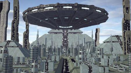 city lights: UFO flying above futuristic pyramid city Stock Photo