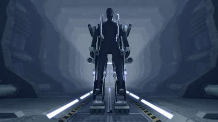 firing: Futuristic mech firing with guns