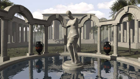 Venus of Milo and an ancient Greek temple