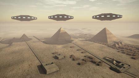 ufo: Egypt pyramids with UFOs