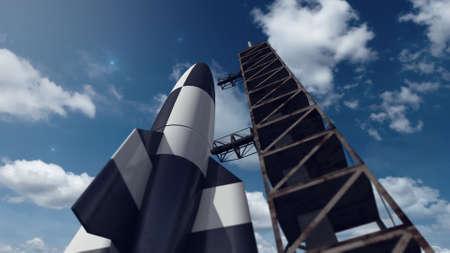 V2 공간 로켓 이륙 준비 스톡 콘텐츠 - 60317313