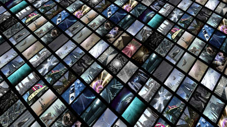 technology collage: Videowall, diagonally