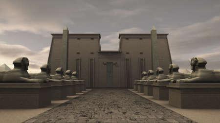 Sphinx statues at a temple in ancient Egypt Archivio Fotografico