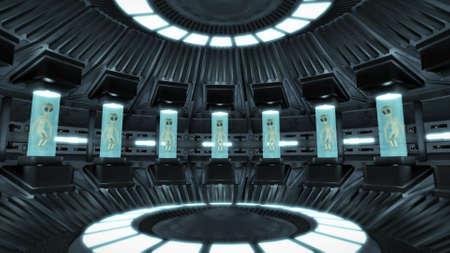 Aliens inside a UFO Standard-Bild