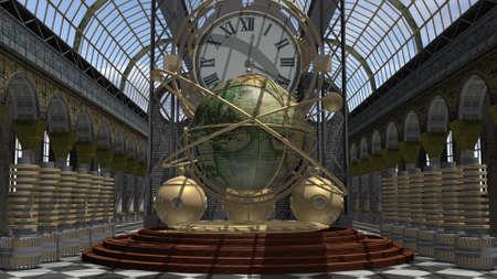 maquina vapor: máquina del tiempo del estilo del steampunk Foto de archivo