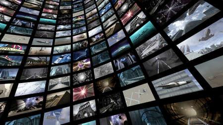 많은 화면 이미지와 비디오 벽