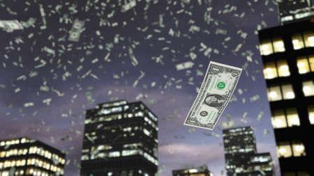 dollaro: carta moneta Dollaro cade dal cielo
