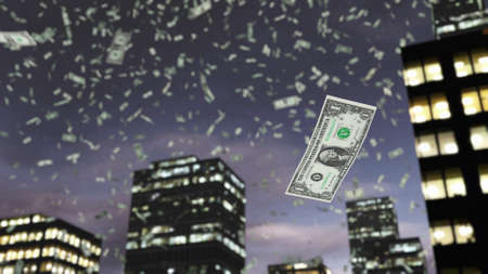 dollar: Dollar paper money falls from the sky Stock Photo