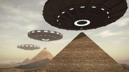 ufo: UFOs above Egypt pyramids