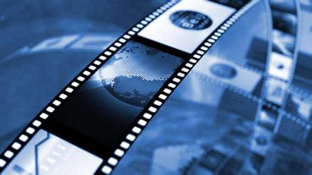 Film haspel met beurs afbeeldingen Stockfoto
