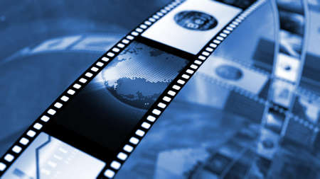 Film reel with stockmarket images