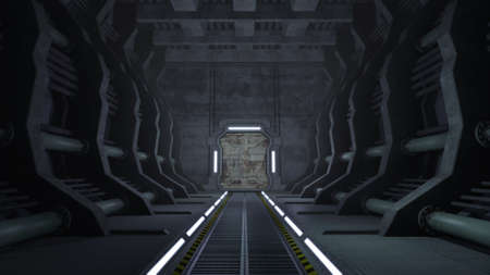 Rusty sci-fi corridor with doors