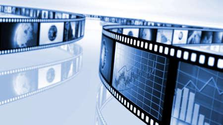 Spoelen van de film met de beurs concepten Stockfoto