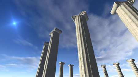 remain: Ancient greek pillars built in a round Stock Photo