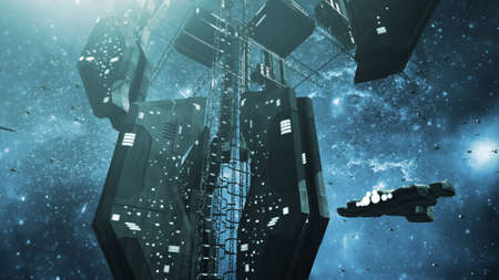 space station: Impressive space station and a scifi spaceship