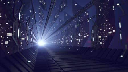 Futuristic sci-fi corridor of glass Standard-Bild