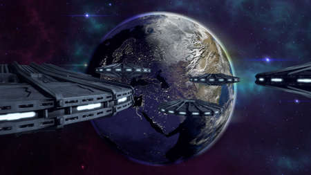 city lights: UFOs flying to enlightened city earth