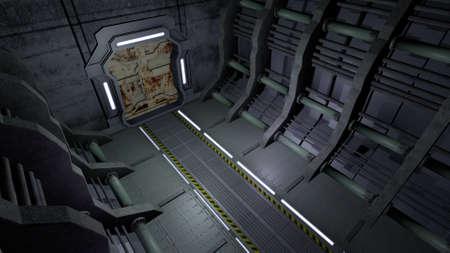futuristic interior: Corridor with rusty doors Stock Photo