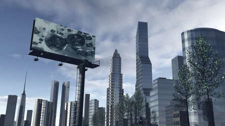 futuristic city: Skyline of a futuristic city with a video screen