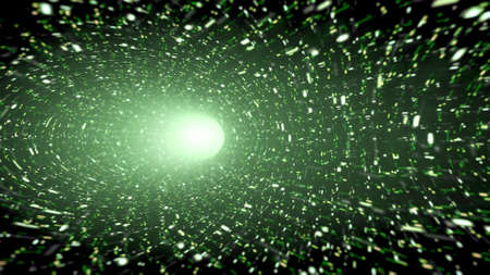 tunnel portals: Green wormhole with sparkles Stock Photo