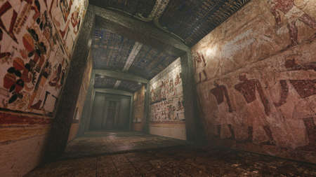 Tomb with old wall paintings in ancient Egypt
