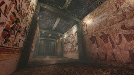 tumbas: Tumba con pinturas murales antiguas en el antiguo Egipto