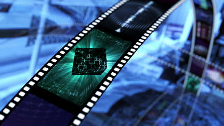 Film strip met ruimte sci fi Stockfoto