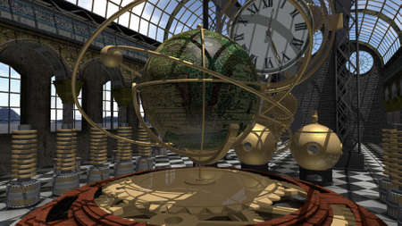 Time machine in Steampunk style Stock Photo