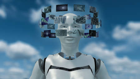 woman floating: 3D rendering of an artificial robot with futuristic screens