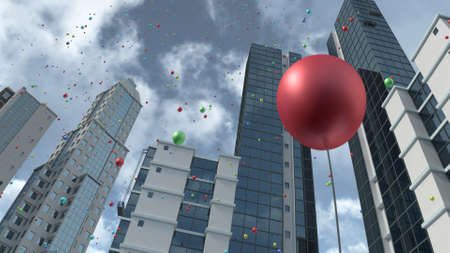 Rising colorful balloons in city 3D rendering