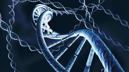Genetic DNA chain strands 3D rendering