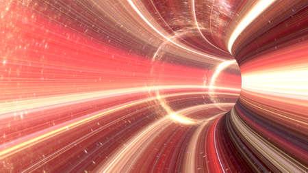 3D rendering Cosmic wormhole tunnel