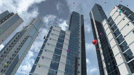 Rising balloons in city 3D rendering
