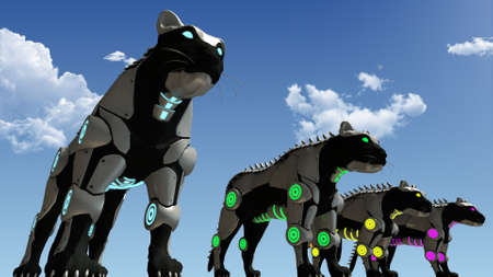 scifi: Machine sci-fi panthers 3D rendering Stock Photo