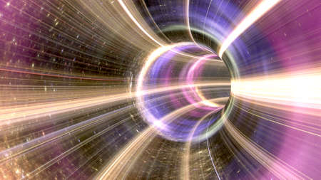 3D rendering Wormhole cosmic tunnel Stock Photo