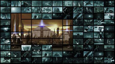 3d rendering. Video wall with futuristic ancient city Standard-Bild