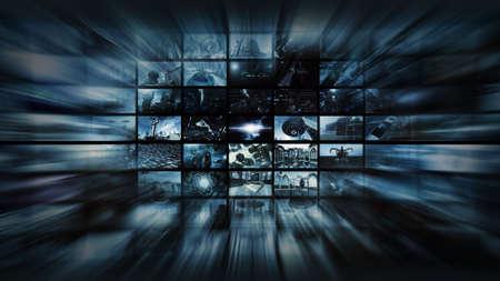 3d rendering. Videowall into space warp 스톡 콘텐츠