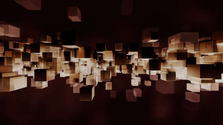 Particles block light and dark. 3D rendering Stock Photo