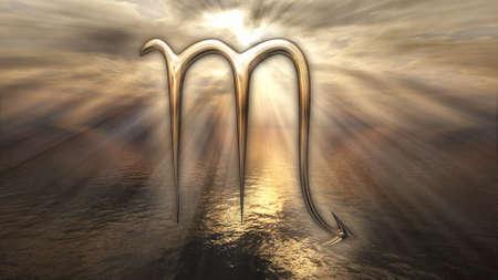 Mystic golden Scorpio zodiac horoscope symbol. 3D rendering